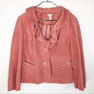 Anthropologie Odille Pink Ruffled Collar Blazer
